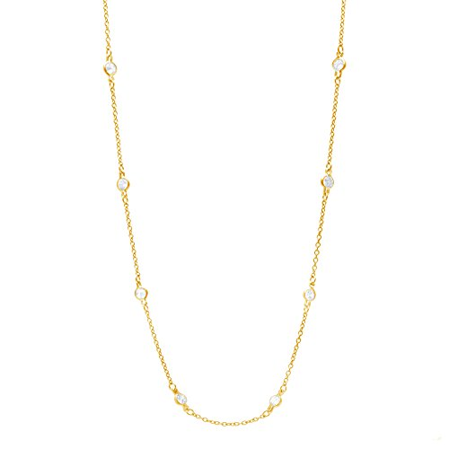 Women's Sterling Silver Double Side Cubic Zirconia CZ By The Yard Station Necklace (Gold 18