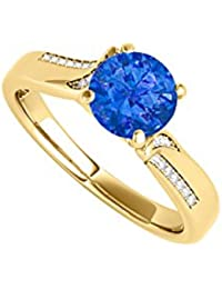 April Birthstone CZ and Sapphire Ring 1.25 CT TGW