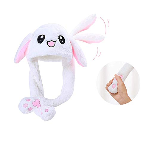 nny Hat Rabbit Cap - Ears Popping Up When Pressing The Paws (Bunny Hat) White ()