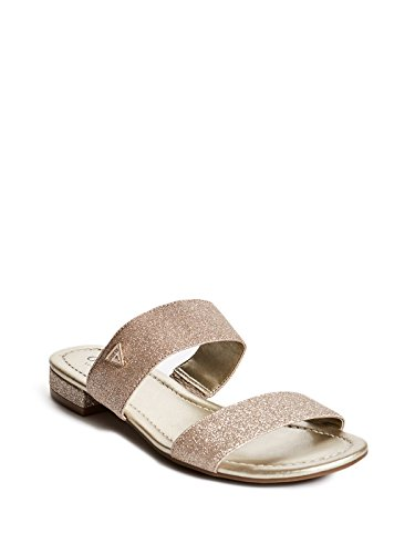 Strap Guess Ladies (GUESS Factory Women's Korine Glitter Double-Strap Slip-On Sandals)