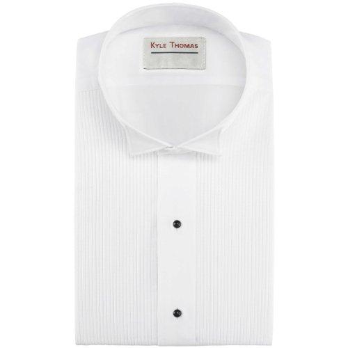 "Kyle Thomas Men's 1/8"" Pleat Wing Collar Tuxedo Shirt"