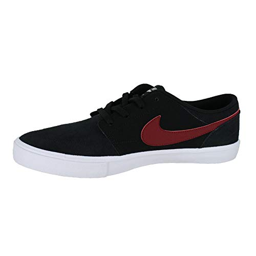 NIKE Men's Sb Portmore Ii Solar Ankle-High Canvas Skateboarding Shoe Black Red Crush White
