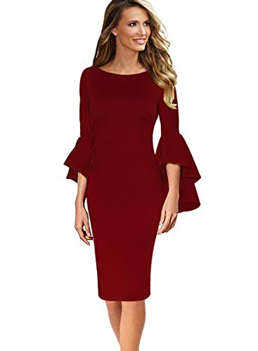 (VFSHOW Womens Ruffle Bell Sleeves Business Cocktail Party Sheath Dress 1707 RED L)