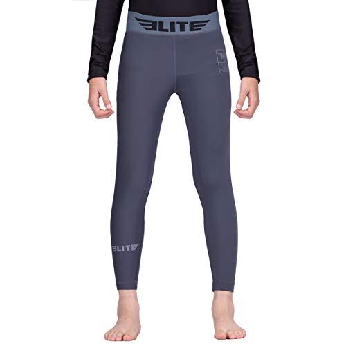 Elite Sports Kids Compression Training Spat Pants (Grey, Small)]()