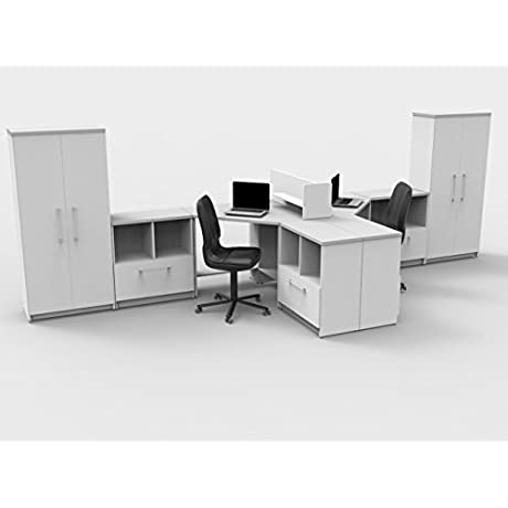 TeamTIMEoffice 9 Piece Corner Desk The KEY Commercial Grade Team Collaboration In Compact Space 2 Desk Furniture Items Only 182 L X 60 H X 63 W Contemporary White