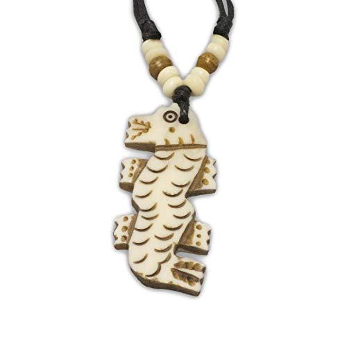 Zen Canyon White Dragon Carved Yak Bone Pendant Charm Necklace Eco-Friendly Fair Trade