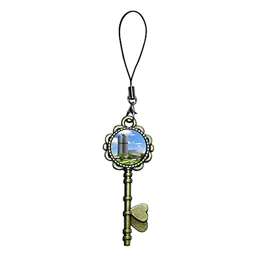 GiftJewelryShop Ancient Bronze Retro Style BMW building and BMW Museum Flower Photo Key to Her Heart Strap hanging Chain for Phone Cell Phone Charm