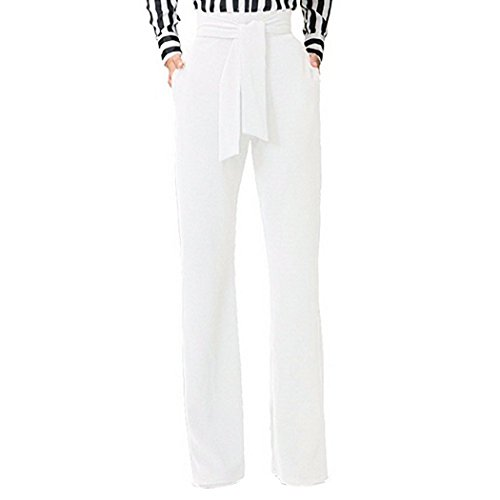Raylans Women's High Waist Long Pants Wide Leg Trousers with Belt White M - White Slacks
