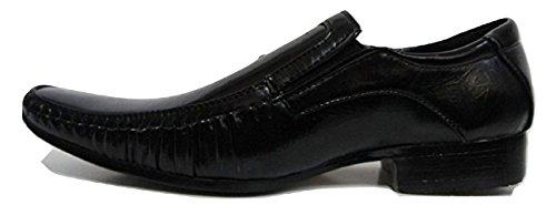 MONTI ALBANI 80144 Black Leather Look Formal Slip On Shoe