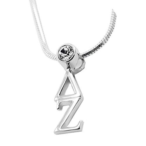 Greekgear Delta Zeta Sterling Silver Lavaliere Pendant with Swarovski Clear Crystal