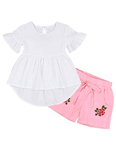 Little Girl Clothes Ruffle T-Shirt Tops Embroidered Flower Print Shorts Kids Cotton Casual Outfit Sets(3-4T) White