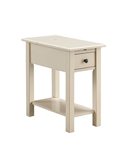 White Antique End Table (Sutton Side Table with Charging Station in Antique White)