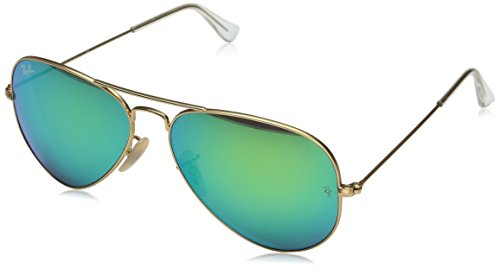 Ray-Ban AVIATOR LARGE METAL - MATTE GOLD Frame CRY.GREEN  MIRROR MULTIL.BLUE Lenses 55mm Non-Polarized