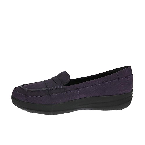 Fitflop F-sporty Penny Loafer Snake - Mocasines Mujer Purple (Deep Plum Snake-Embossed)
