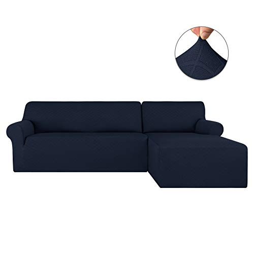 Subrtex 2 Pieces Rhombus L Shape Couch Cover Stretch Fabric Sectional Sofa Slipcovers Furniture Protector (Right Chaise(2 Seats), Navy) (Best Fabric Sectional Sofa)