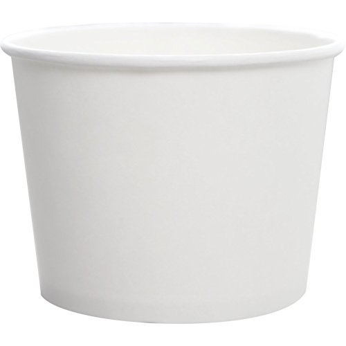Karat 16oz Double Poly Paper Hot/Cold White Food Container - 112mm, 1000 Pcs (Yogurt Container) C-KDP16W