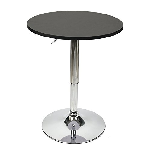 PULUOMIS 35 Inches Height Pub Table Round Black Mdf Top, with Chrome Leg And Base by PULUOMIS