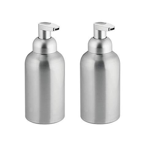 mDesign Large Modern Metal Foaming Soap Dispenser Pump Bottle for Kitchen Sink Countertop, Bathroom Vanity, Utility/Laundry Room, Garage - Save on Soap - Rust Free Aluminum - 2 Pack - Brushed/Silver