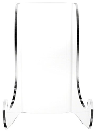 """Plymor Clear Acrylic Flat Back Easel with Shallow Support Ledges, 7.5"""" H x 5.375"""" W x 4.25"""" D"""