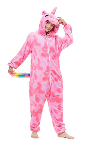 Yutown New Adult Animal Costume Onesie Unicorn Halloween Cosplay Pajama Zipper Star Close Eyes Pegasus L