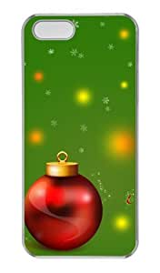 Christmas decoration balls and green PC Transparent carrying iphone 5S case for Apple iPhone 5/5S by runtopwell