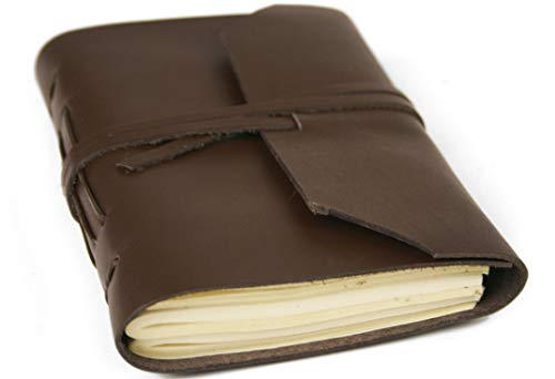 Life Arts Handmade Indra Leather Journal Tan, Mini Plain Pages