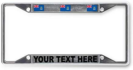 Voicpobo Custom Your Text Falkland-Islands Country Flag Metal License Plate Frame Funny,Cute License Plate Cover,Car Tags Frame,Gifts for Women,for ()