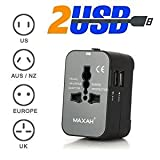 Universal Plug Adapter Adaptor With 2 USB 2.1A MAXAH Surge Protector All in One Universal Travel Plug Adapter Adaptor Wall Charger AC Power AU UK US EU Plug.