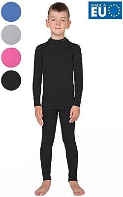 meteor Conjunto Ropa Interior Térmica para Niños - Camiseta de Manga Larga y Pantalón - Set Infantil Elástico para Esquí Snowboard Acampada y Senderismo para Niño y Niña (104-110 cm, Negro): Amazon.es: