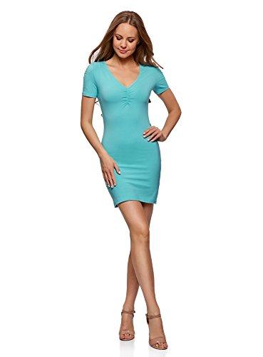 oodji Ultra Mujer Vestido de Silueta Ajustada con Escote en V Turquesa (6500N)