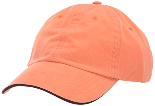 UltraClubs Men's ULTC-8112-Brushed Cotton Twill Unconstructed Sandwich Cap, Tangerine/Navy One Size