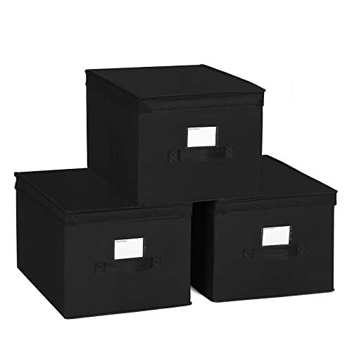 (SONGMICS Set of 3 Foldable Storage Boxes with Lids, Fabric Cubes with Label Holders, Storage Bins Organiser, 11.8 x 15.7 x 9.8 Inches, Black URLB40H)