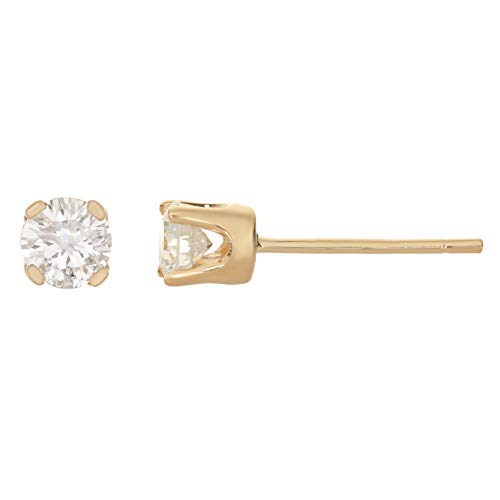 Lavari - .20 cttw Round White Diamond 14K Yellow Gold Stud Earrings ()