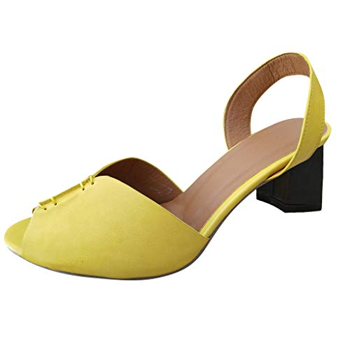 Mysky Summer Popular Classic Roman Sexy Fish Mouth Pure Color Singles Shoes Ladies Casual Square Heel Comfy Sandals Yellow