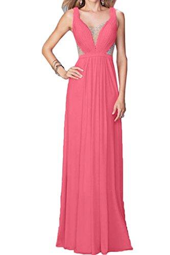Linie Ivydressing Rosa Damen A Tuell amp;Chiffon Ausschnitt Festkleid Steine V Abendkleid Partykleid Promkleid Liebling xqrZnawfqX