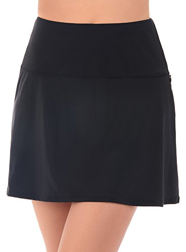Miraclesuit Women's Swimwear Fit and Flair Swim Skirt Tummy Control Bathing Suit Bottom with Zippered Pocket, Black, 10