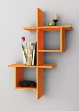 Concur Wall Shelf Bookcase Decor Living Room In Modern Design Orange