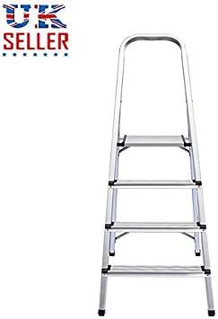 SiKy Escalera de 3 peldaños antideslizante, escalera portátil de aluminio, escalera plegable resistente, capacidad de 150 kg: Amazon.es: Bricolaje y herramientas