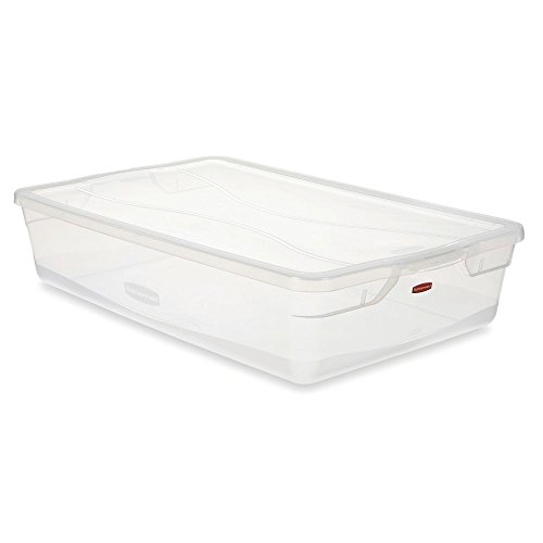 Rubbermaid Clever Store Tote Storage Container FG3Q2800CLR, 41 Quart, Clear