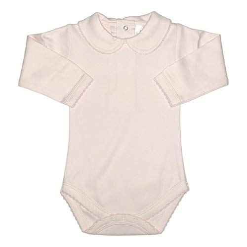 - CARLINO Peter Pan Collared Onesie - Long Sleeve, Extra Soft, 5 Colors Available (18-24 Months, Pink)