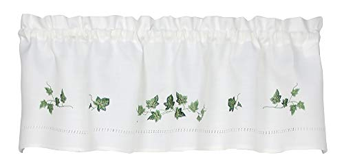 Moments Ivy Embroidered Valance Curtain (Green, 58