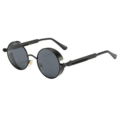 ZHILE Vintage Hippie Retro Metal Perfect Round Small Frame Polarized Sunglasses 47mm