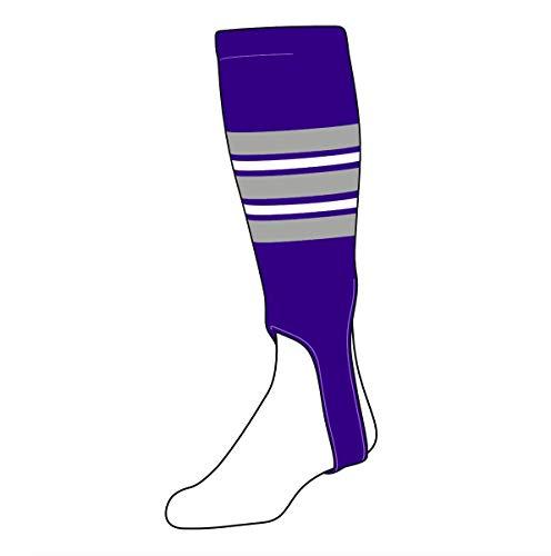 (TCK Baseball Stirrups Large PRO (700F, 5in) Purple, Grey, White)