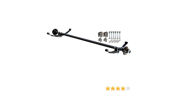 Hubface 60in Spring Center Capacity Complete Axle Kit 48in 4in Hubs 4-Bolt Pattern Ultra-Tow 2000-Lb