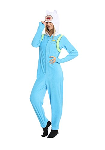 [Adventure Time Finn the Human Adult Sky Blue Hooded Footie One Piece Costume Pajama (Adult Large)] (Adventure Time Costume Fiona)