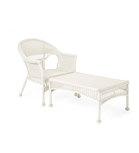 Plow & Hearth Easy Care Resin Wicker Chaise, Bright White (Wicker Chaise Lounge Outdoor Resin)