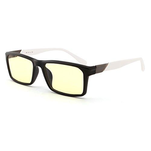 MALO Readers Blue Light Blocking Eyeglasses for Deep Sleep Computer Gaming Cellphone Protection Glasses Anti-glare Anti-UV Anti-reflective Eye Fatigue Relief(Unisex,Black White Frame,Amber - Eyeglasses Protection Screen Computer For