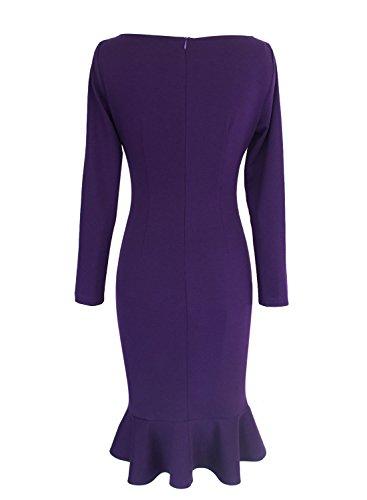 Flower VfEmage Midi Calf Dress Print Mermaid Floral Vintage Purple Womens Elegant Mid pHxwrqHBIW