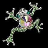 Green Austrian Rhinestone Gold-Tone Frog Brooch Pin