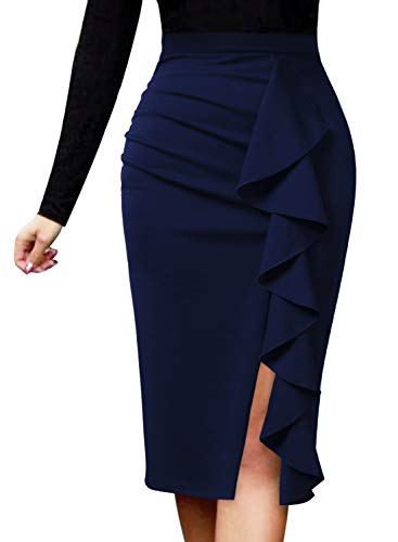 VFSHOW Women Elegant Ruched Ruffle Slit Work Business Party Pencil Skirt 1007 BLU 3XL